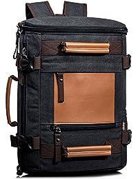 Leaper Men's Vintage Canvas Backpack Rucksack Handbag Travel Duffel Bag Black