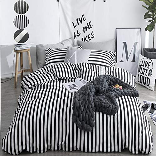 CLOTHKNOW Duvet Cover Queen Stripe Black and White Striped Bedding Set Ticking Teen Boys Girls 100 Cotton Zipper Closure 3 pcs 1 Comforter Cover 2 Envelope Pillowcases (And Black Set White Striped Bed)