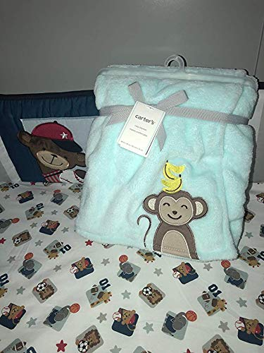 Carter's Plush Aqua Monkey baby blanket ()