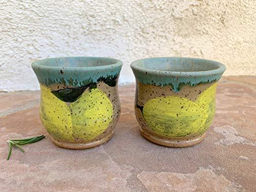 (Large Matte Green Limoncello Clay Cup set of 2, handmade ceramic lemon shot glass)