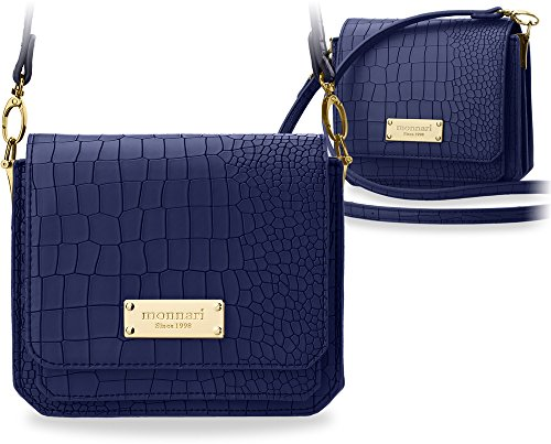 kleine stilvolle Damentasche Markentasche Monnari mit Kroko - Prägung dunkel blau