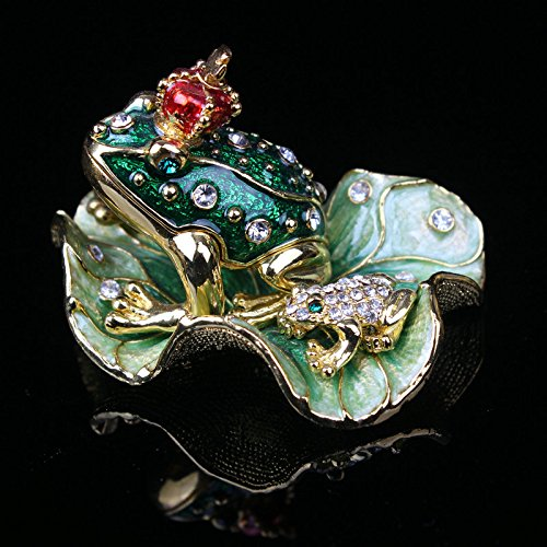 Pewter Alloy Hinged Frog and Baby Trinket Box, Decorative...