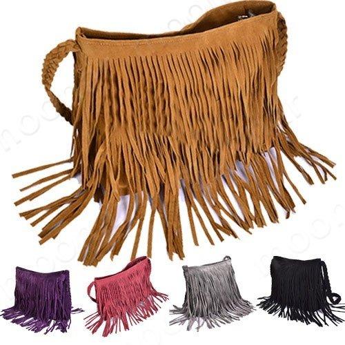 Hainan Women PU Leather Tassels Hobo Clutch Purse Handbag Shoulder Totes Bag Celebrity Tassel Suede Fringe Shoulder Messenger Handbag Cross Body Bag Messenger Black one ()