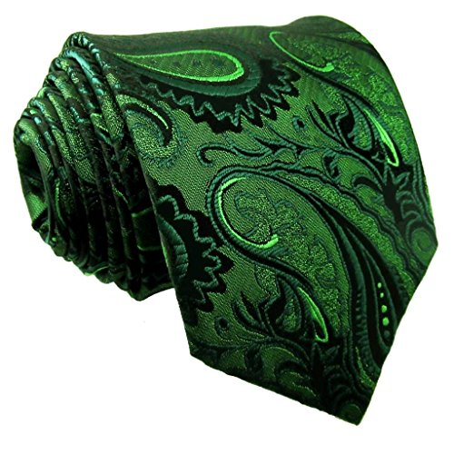 Shlax & Wing Long Size Mens Necktie Paisley Dark Green