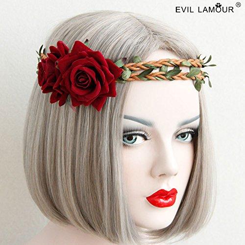 usongs Dark red roses rattan garland headband hair bands hair accessories Sen women girls line seaside resort wedding with accessories