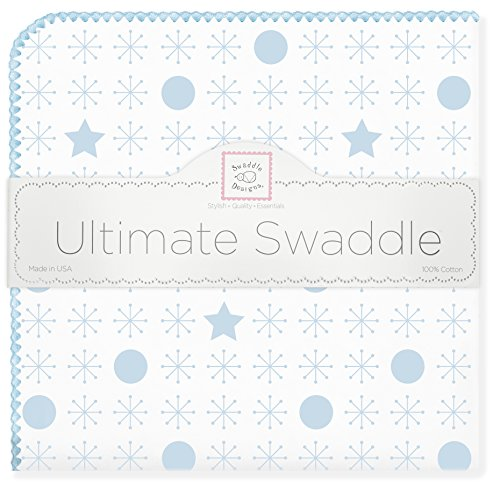 SwaddleDesigns Ultimate Swaddle Blanket, Made in USA, Premium Cotton Flannel, Pastel Blue Jax and Stars