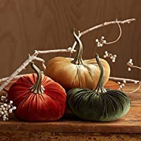 Large Velvet Pumpkins Set of 3 Includes Rust Gold Olive, Handmade Home Decor, Holiday Mantle Decor, Fall Halloween Thanksgiving Centerpiece, Rustic Farmhouse Decoration
