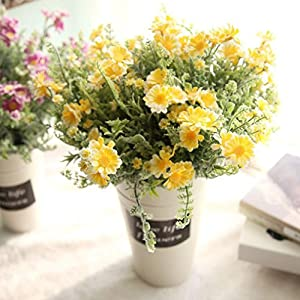 YJYdada Artificial Fake Flowers Mid Chrysanthemum Floral Wedding Bouquet Home Decor (Yellow) 52