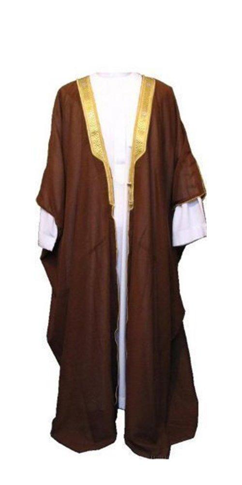 Desert Dress Brown Bisht Cloak Arab Dress Thobe Saudi Mens Robe Eid (Size: Adult)