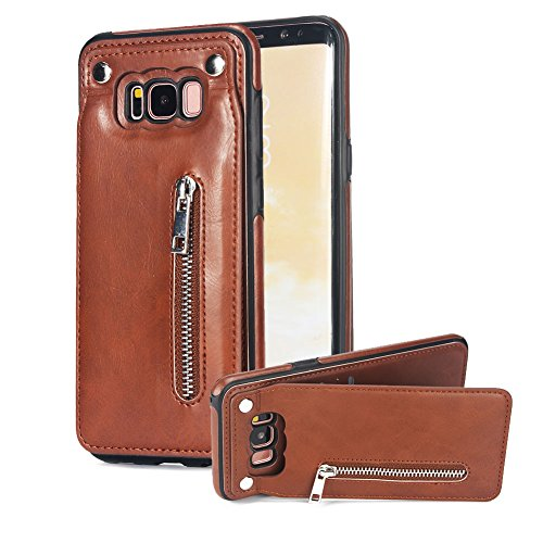 Price comparison product image Vertical Up Down Open Case for Samsung Galaxy S8 Plus, Aearl Premium PU Leather Back Flip Zipper Wallet Card Holder Purse Cover Magnetic Kickstand Protective Shell for Samsung Galaxy S8 Plus - Brown