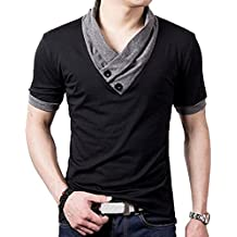 Mens Fashion Elasticity Cotton 2 Color Stitch Slim Fit Muscle V Neck Button Short Sleeve Basic T Shirts