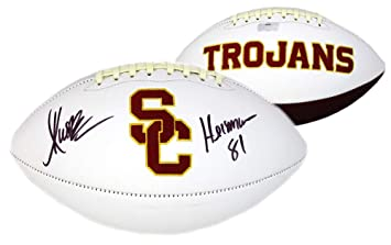 aa66d9e3d28 Marcus Allen Signed USC Trojans Embroidered Football with quot Heisman  81 quot  Inscription - Autographed College