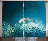 Cheap Ambesonne Sea Animals Decor Curtains, Shark and Small Fish in Ocean Wilderness Waterscape Wildlife Nature Theme Picture, Living Room Bedroom Decor, 2 Panel Set, 108 W X 90 L Inches, Teal Beige