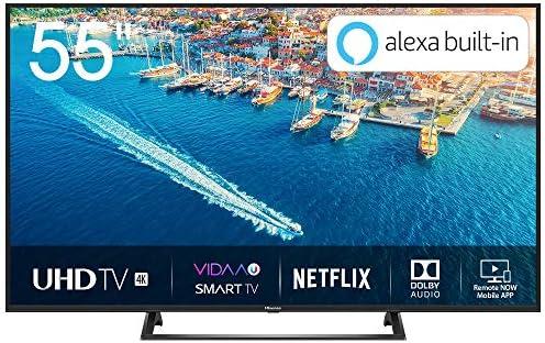 Hisense H55BE7200 - Smart TV 55 4K Ultra HD con Alexa Integrada, Wifi, HDR, Dolby DTS, Peana Central, Procesador Quad Core, Smart TV VIDAA U 3.0 con IA, compatible con dispositivos Echo: