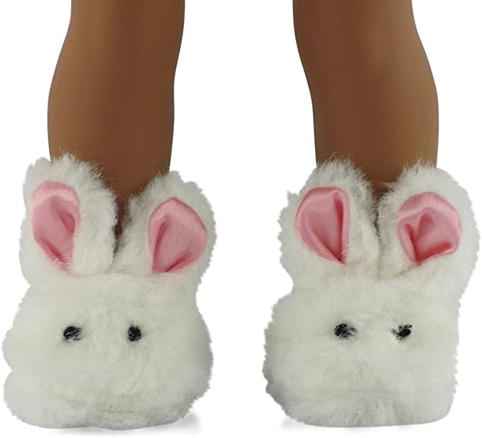 """White Bunny Slippers Rabbit Shoes Suit For 18/"""" Doll Kids Clothes Toy Toy C0X6"""
