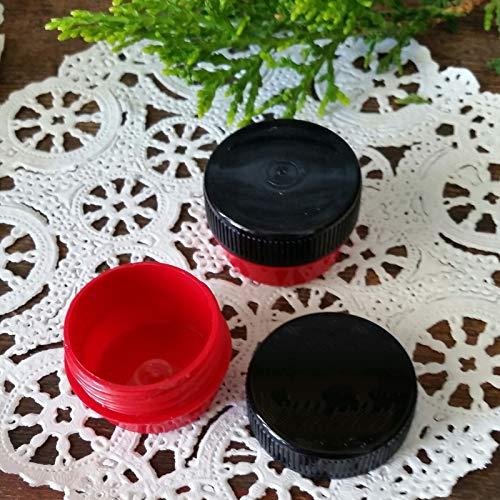 12 Cute Mini RED .25oz Black Cap Wax Container Balm stash waxtkdecojars ()