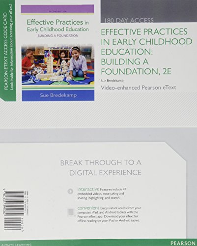 Effective Practices in Early Childhood Education: Building a Foundation, Video-Enhanced Pearson eText -- Access Card (2nd Edition)