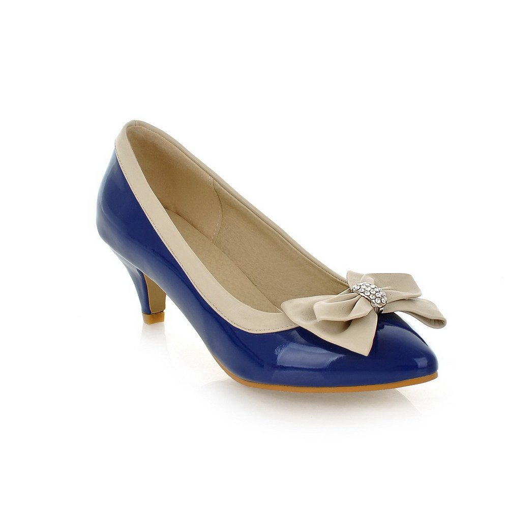 Vogue009 Womens Closed Pointed Toe Kitten Heel Patent Leather PU Assorted Colors Pumps with Bowknot and Glass Diamond, Darkblue, 39