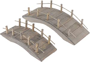 WWahuayuan Dollhouse Wooden Arc Bridge with Railings Miniatures Fairy Garden Craft Arch Plank Bridge Figurines Mini Terrarium Kits DIY Rockery Bonsai Plant Pot Moss Micro Landscaping Garden Ornaments
