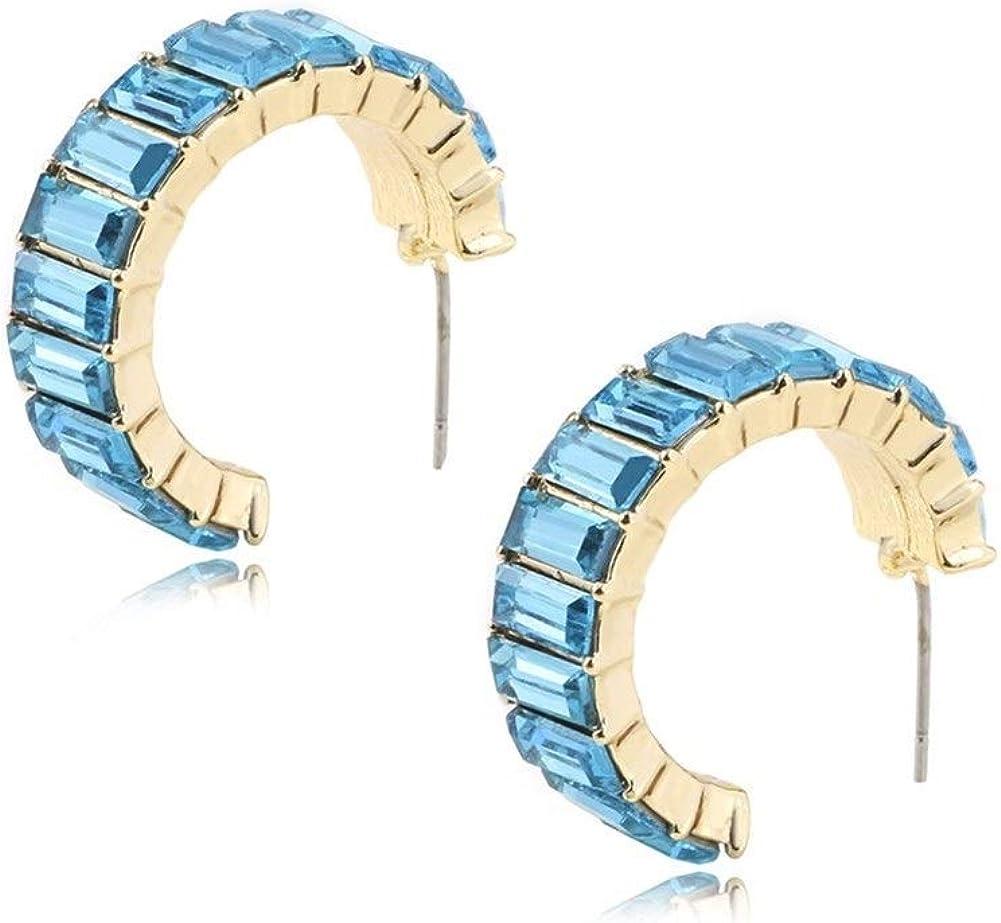 Pendientes Mujer Pendientes Ear Cuff Pendientes de cristal multicolores sencillos pendientes de diamantes en forma de C