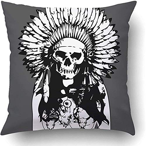 (Staropor Throw Pillow Covers Brown Native Indian Evil Girl Painting with Nice Detail of Machine and Bad Ugly Face Tattoo Dancer Polyester Square Hidden Zipper Decorative)
