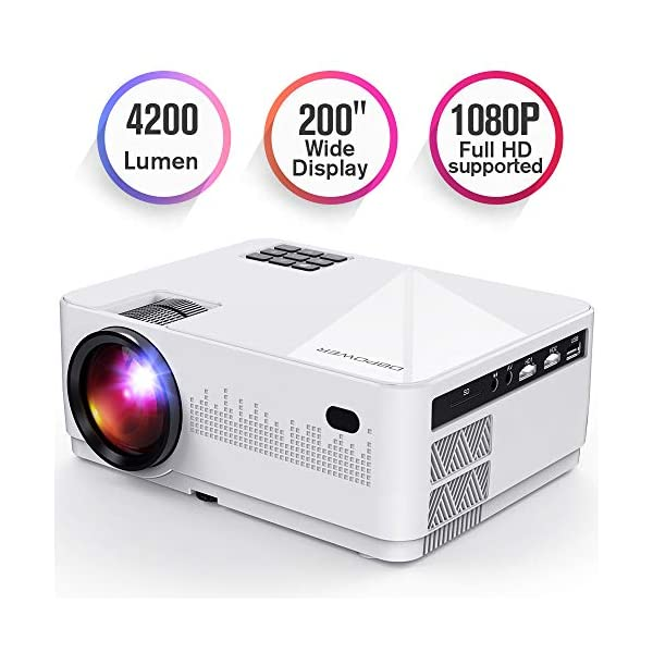 DBPOWER L21 LCD Video Projector, 4200L 1080P 1920×1080 Supported Full HD Mini Movie Projector with HDMIx2/USB/SD/AV Ports, Compatible with Smartphone/VGA/TV/PS4/DVD Ideal for Home Theater(Loud Sound)