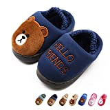 Boy's & Girl's Cute Animal House Slippers Bear Bunny Fuzzy Indoor Shoes Warm Winter Home Slipper, Anti-Skid Sole (Toddler/Little Kid/Big Kid) (Toddler 6-7M, Dark Blue)