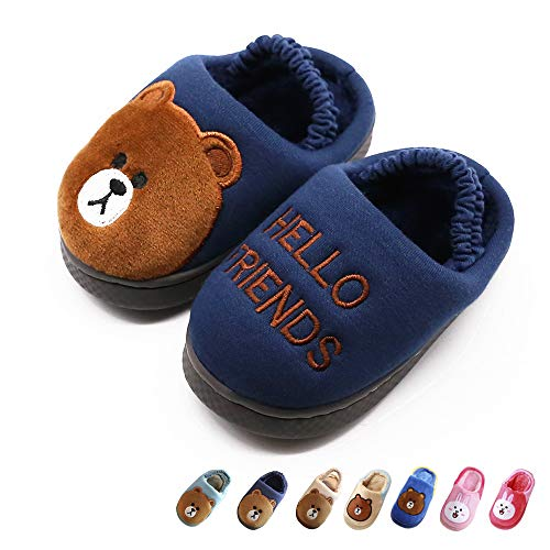 Boy's & Girl's Cute Animal House Slippers Bear Bunny Fuzzy Indoor Shoes Warm Winter Home Slipper, Anti-Skid Sole (Toddler/Little Kid/Big Kid) (Toddler 6-7M, Dark Blue) by Techcity