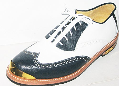 Bari Gold toe Golf Shoes By Vecci ,Navy faux lizard Wing tip,white uppers,91/2d(M) - Lizard Wingtip