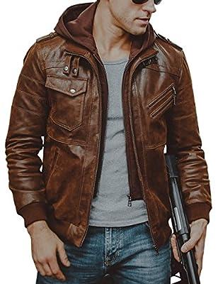 FLAVOR Men Brown Leather Motorcycle Jacket Removable Hood