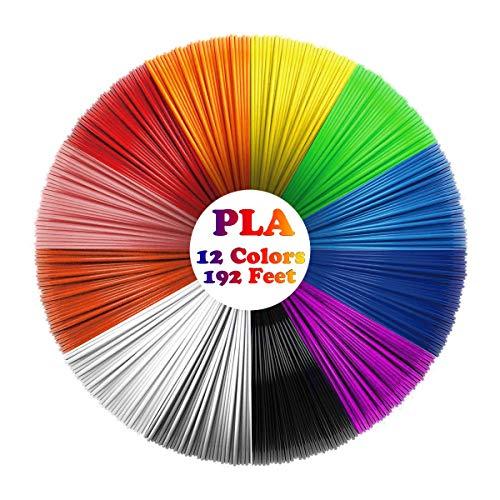 3D Pen Filament Refills (12 Colors, 16 Feet Each) Total 192 Feet PLA Filament 1.75mm PLA 3D Printing Pen Filament for Kids Non-Toxic No Stuck and Odorless (PLA Printer Filament)