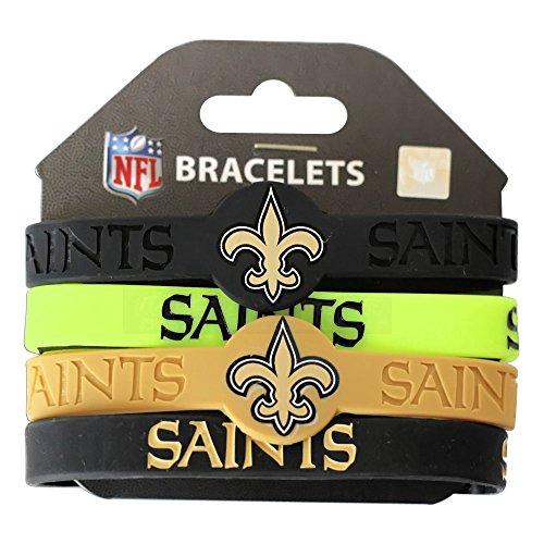 Nfl Sport Bracelet - NFL New Orleans Saints Silicone Rubber Wrist Band Bracelet (Set of 4), One Size, Multicolor