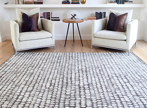 Abacasa Sonoma Cobblestone Area Rug, 8' by 10', Charcoal/Ivory