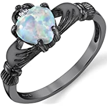 Black Rhodium Plated Solid Sterling Silver Irish Claddagh Engagement Ring with .75 Carat White Fire Simulated Opal Heart Shape Stone and CZ