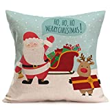 Merry Christmas Pgojuni Linen Pillowcase Decoration Accent Throw Pillow Cover Cushion Cover for Couch/Sofa 1pc 45X45 cm (B)