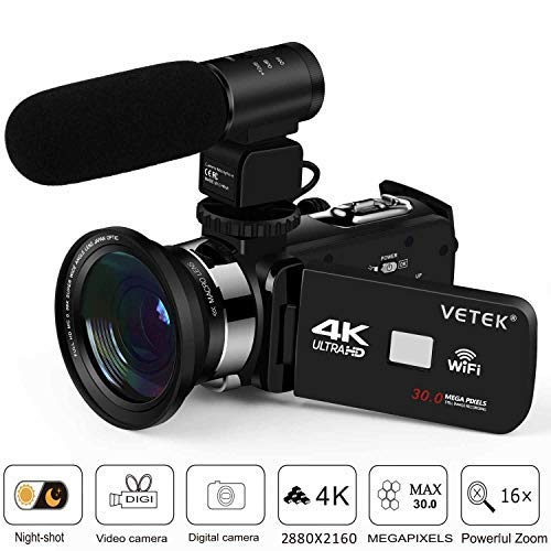 Camcorder, Video Camera 4K VETEK Ultra HD Digital WiFi Camera 30.0MP 3.0 inch Touch Screen IR Night Vision 16X Digital Zoom Recorder External Microphone Wide Angle Lens,2 Batteries