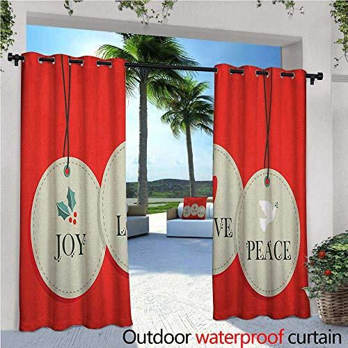 Christmas Exterior/Outside Curtains Joy Love and Peace Words Pendants Merry Christmas Holiday Celebration Theme for Patio Light Block Heat Out Water Proof Drape W108