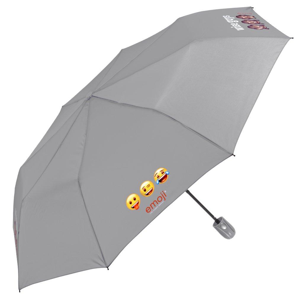 Paraguas Emoji Perletti - Mini de viaje automático – Paraguas de hombre/mujer plegable, ligero, para mochila/bolso gris/azul con estampado de Emoji – Automático – 96 cm de diámetro (Gris) 75054A
