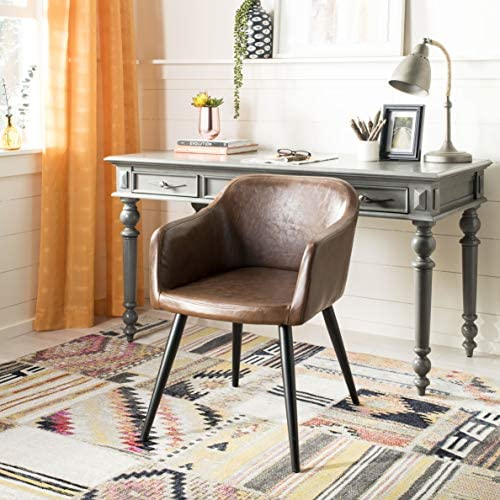 Safavieh Home Adalena Mid-Century Brown Faux Leather and Black Accent Chair - the best living room chair for the money