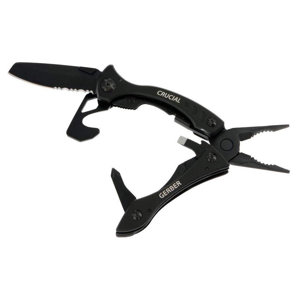 Gerber Crucial Multi-tool - Black w/Pocket Clip & Strap Cutter [31-001518]