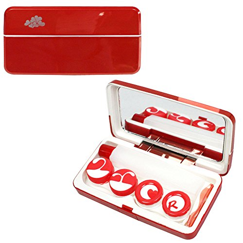 JAVOedge Red Metallic Contact Lens Travel Kit with Mirror, 2 Twist Cap Lens Set, and 1 Large Solution Bottle