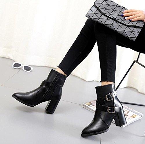 KHSKX-Grob- Und Fine-Point High-Heel Schuhe Weiblichen Short-Boots Chelsea Boots Der Lüfterriemen Clip Plus Samt 38