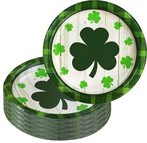 Disposable Paper Dessert Party Plate, 40-Count, Everyon'e Irish Shamrock