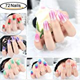 Glitter Adhesive Nail Art Tips Stickers Strips for Women Kids Girls, VIWIEU Fake Nail Design New Year Valentine Gift Gradient Color Dreamy Cocktail Set DIY Manicure Set 72PCS