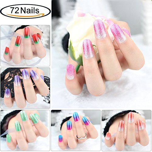 Glitter Adhesive Nail Art Tips Stickers Strips for Women Kids Girls, VIWIEU Fake Nail Design New Year Valentine Gift Gradient Color Dreamy Cocktail Set DIY Manicure Set 72PCS -