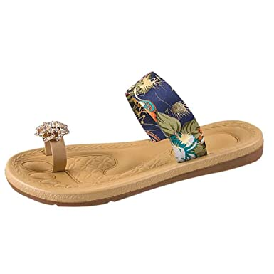 1fc64fca8332 Kasien Summer Women s Non-Slip Sandals Flat Beach Slippers Pearl Sandals  Toe Slippers (Blue