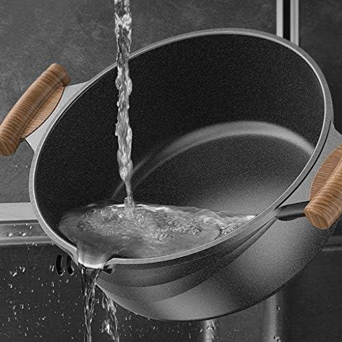 SMEJS Marmite en pierre avec couvercle résistant aux températures élevées