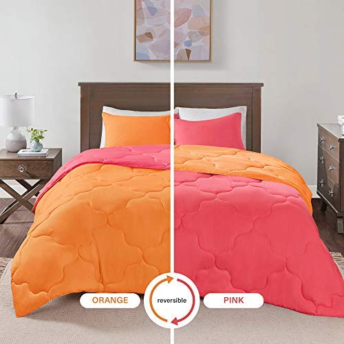Comfort Spaces Vixie 2 Piece Comforter Set All Season Reversible Goose Down Alternative Stitched Geometrical Pattern Bedding, Twin/Twin XL, - Hot Pink Bedding