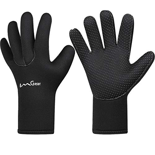 OMGear Neoprene Gloves Diving Wetsuit Gloves 3mm Glued Anti-Slip Flexible Thermal with Adjustable Waist Strap for Snorkeling Scuba Diving Surfing Kayaking Rafting Spearfishing Sailing (5mm Black, M)