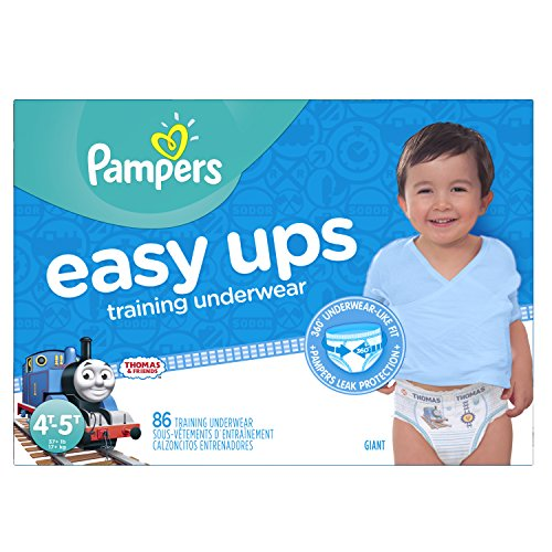 Pampers Easy Ups Training Pants Pull On Disposable Diapers for Boys Size 6 (4T-5T), 86 Count, Giant